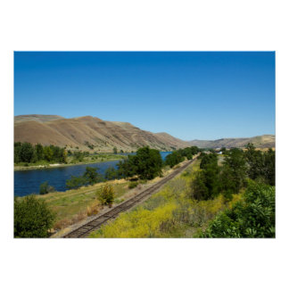 Clearwater River and BG&CM Railroad Tracks, Idaho Poster