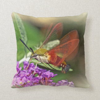 Clearwing Hawk Moth - Hemaris thysbe Throw Pillow