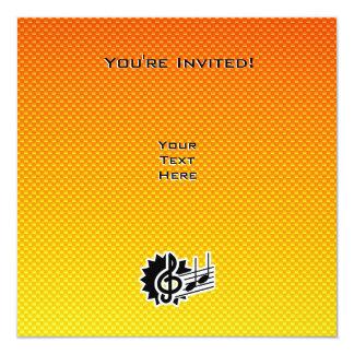 """Clef agudo amarillo-naranja invitación 5.25"""" x 5.25"""""""