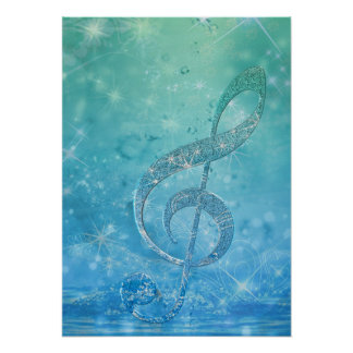 Clef agudo azul del efecto brillante hermoso poster