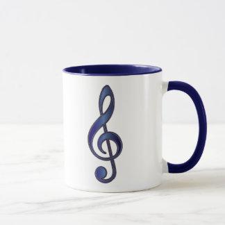 Clef agudo azul del zafiro taza