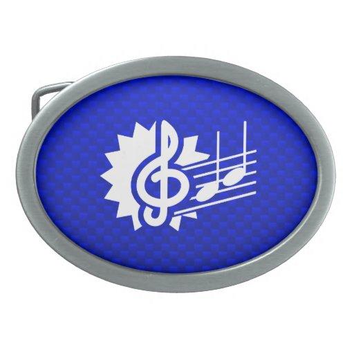 Clef agudo azul; Notas de la música Hebillas De Cinturón Ovales