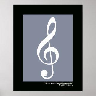 clef agudo blanco de la música póster