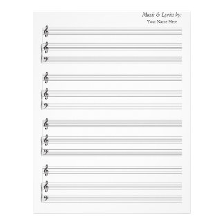 Clef agudo de la partitura del piano en blanco del membrete a diseño