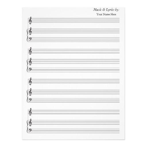 Clef agudo de la partitura del piano en blanco del membretes personalizados