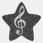 Clef agudo de los efectos brillantes de plata colcomanias forma de estrella