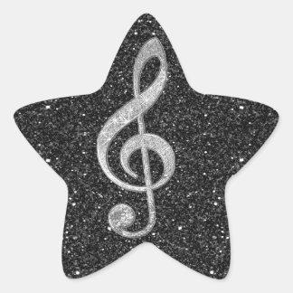 Clef agudo de los efectos brillantes de plata pegatina en forma de estrella