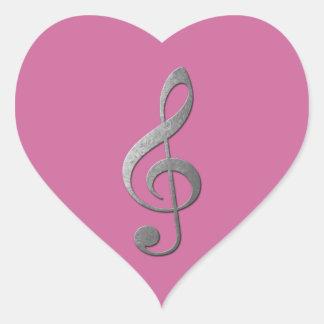 clef agudo de plata pegatina en forma de corazón