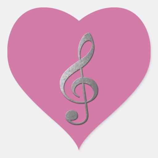 clef agudo de plata pegatina de corazón personalizadas