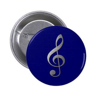 clef agudo de plata pin redondo de 2 pulgadas