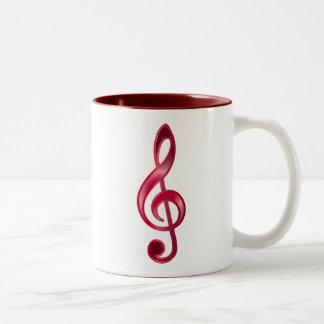 Clef agudo de rubíes taza de café de dos colores