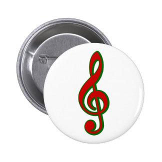 Clef agudo del navidad rojo pin redondo 5 cm