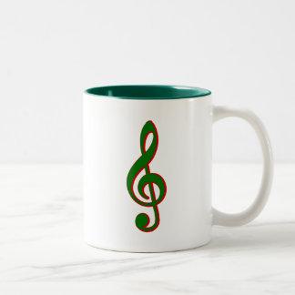 Clef agudo del navidad verde taza dos tonos