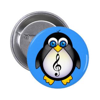 Clef agudo del pingüino de la música pin redondo de 2 pulgadas
