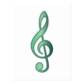 Clef agudo del verde de jade postales