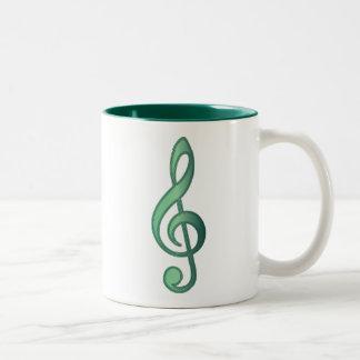 Clef agudo del verde de jade taza dos tonos