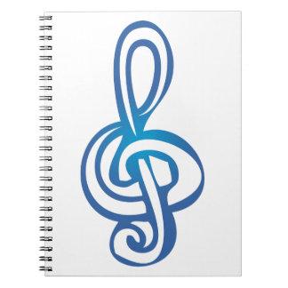 Clef agudo en azul libreta espiral