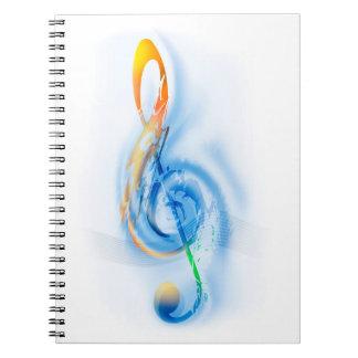 Clef agudo - extracto de la música libro de apuntes con espiral