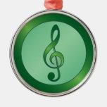 Clef agudo verde redondo ornamento de navidad