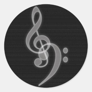 Clef agudo y bajo de la música - - pegatina redond
