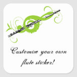 Clef agudo y flauta personalizados colcomanias cuadradas personalizadas