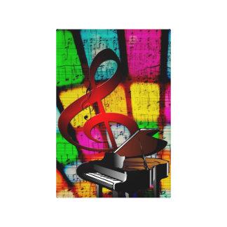 Clef agudo y piano coloridos y chillones impresiones en lienzo estiradas