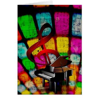 Clef agudo y piano coloridos y chillones tarjeta de felicitación