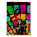 Clef agudo y piano coloridos y chillones felicitación