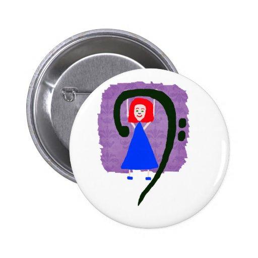 Clef bajo azul femenino rojo del azul de vestido pin