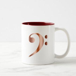 Clef bajo de cobre taza de café de dos colores