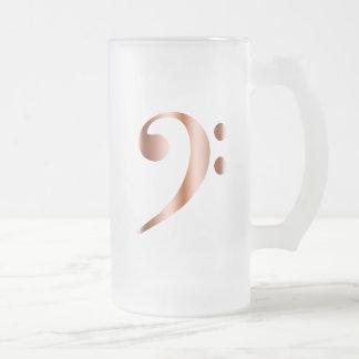 Clef bajo de cobre taza de cristal