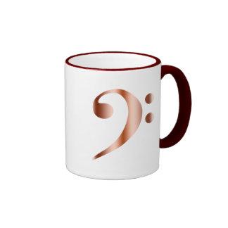 Clef bajo de cobre taza de dos colores