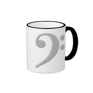 Clef bajo gris claro taza de dos colores