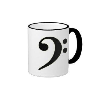 Clef bajo negro taza de dos colores