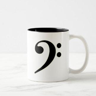 Clef bajo negro taza de dos tonos