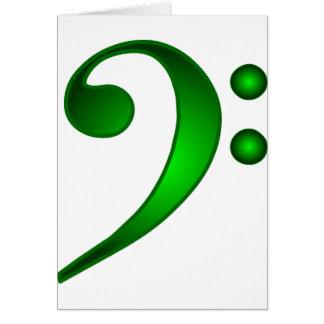 Clef bajo verde metálico tarjeta de felicitación