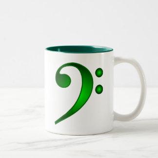 Clef bajo verde metálico taza de café de dos colores