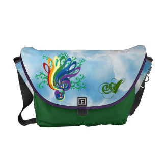 Clef Bouquet in Clouds, Customizable Initial Messenger Bag