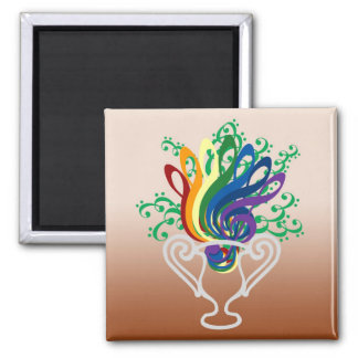 Clef Bouquet 2 Inch Square Magnet