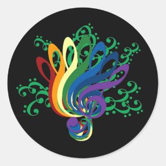 Clef Bouquet on Black Classic Round Sticker