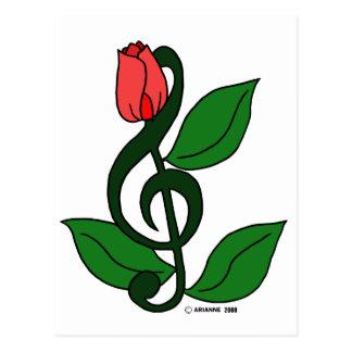 Clef color de rosa postal
