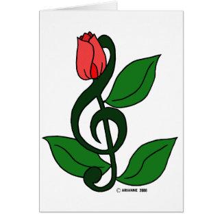 Clef color de rosa tarjeta de felicitación