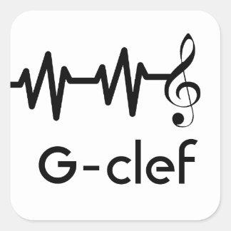 Clef de la música de la onda acústica pegatina cuadrada