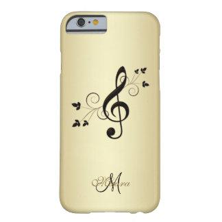 Clef de lujo personalizado de la música en el caso funda de iPhone 6 barely there