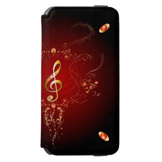 Clef de oro elegante con los elementos florales funda billetera para iPhone 6 watson