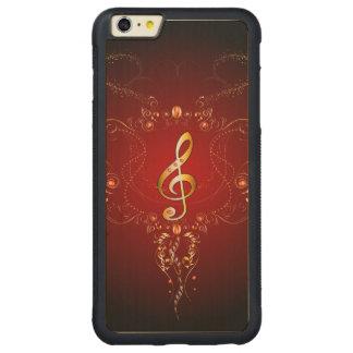 Clef de oro elegante con los elementos florales funda de arce bumper carved® para iPhone 6 plus