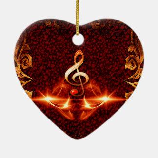 Clef decorativo con efectos luminosos adorno de cerámica en forma de corazón
