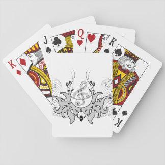 Clef decorativo con las notas dominantes cartas de póquer