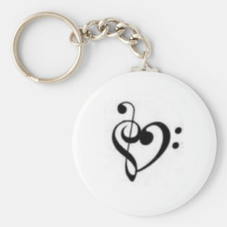 clef heart basic round button keychain