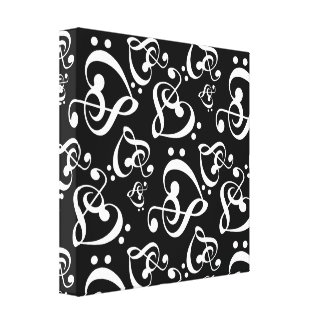 Clef Hearts Black and White Music Wall Art Canvas